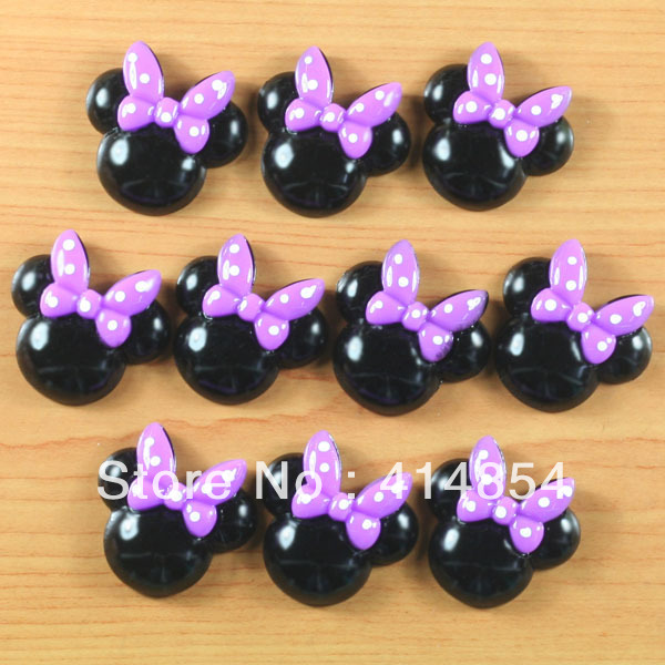 Wlesale 15pcs Easter Minnie Mouse Purple Bow Resin Cabocn ...