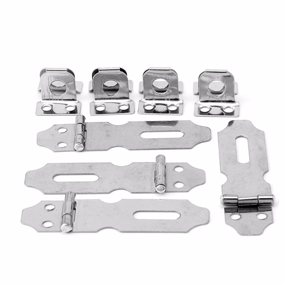 4Pcs Stainless Steel Home Drawer Door Safety Padlock Latch Hasp Staple NO5L057 New Hot
