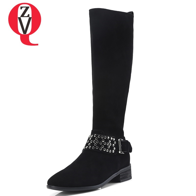 ZVQ women shoes 2018 new fashion round toe rivet med square heel zip genuine leather winter outside comfortable knee high boots zvq 2018 winter hot sale new fashion square toe zipper high square heel genuine leather women ankle boots outside warm shoes