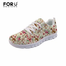 FORUDESIGNS Boxer Flower Mesh Women Sneakers Casual Shoes Summer lightweight Dachshund breathable Trainers Flat Zapatos Mujer