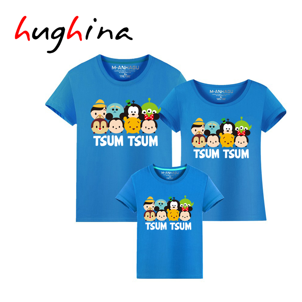 Hughina Tsum Tsum Family Matching Outfits T shirt Color font b Animal b font Matching Family