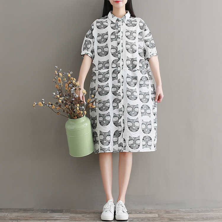 2018 fashion style funny cat printed short sleeve linen dress for women