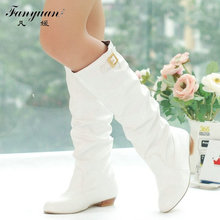 2018 Women Knee High Boots Vintage Low Thick Heel Spring Autumn Shoes Round Toe Less Platform Motorcycle Boots Big Size 34-43