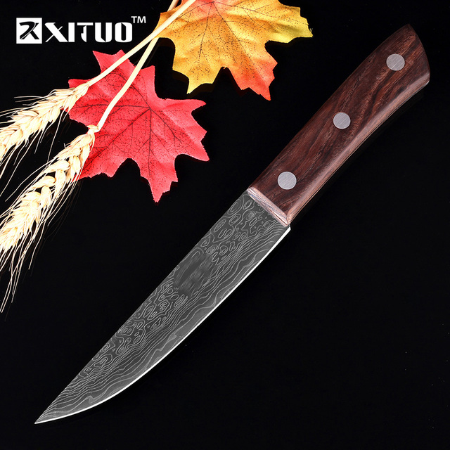 Best Anese Kitchen Knives 440c Damascus Steel Pattern Santoku Cleaver Filleting Paring Salmon Vegetable Accessories