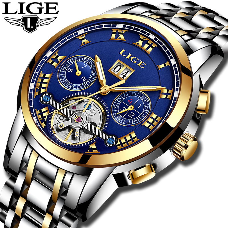 Relogio Masculino Mens Watches Top luxury brand LIGE Watch Men Automatic mechanical Wristwatch Military Sport Waterproof