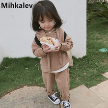 Mihkalev Active kids clothes tracksuit set 2019 spring children clothing set long sleeve tops +pants 2pcs girls sport suits