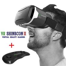 Hot ! Google Cardboard VR SHINECON II 2.0 Latest Upgraded Version Virtual Reality 3D Glasses + Bluetooth Remote Control Gamepad