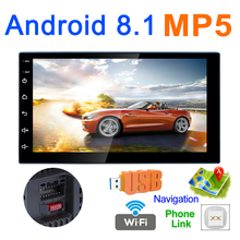 7 Inch Bluetooth 2 DIN QUAD-Core Android 8.1 Car Mp5 Player GPS Navigation AM/FM Radio Support Mirror Link / Phonelink / Wifi 2 din android 7 1 quad core car radio stereo bluetooth gps wifi fm am in dash 7 touch 1024 600 universal dvd player support dab
