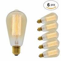 6 Pcs/Lot Handmade Edison Lamps Carbon Filament Clear Glass's Edison Retro Vintage Incandescent Bulb 40W/60W 220V E27 ST64