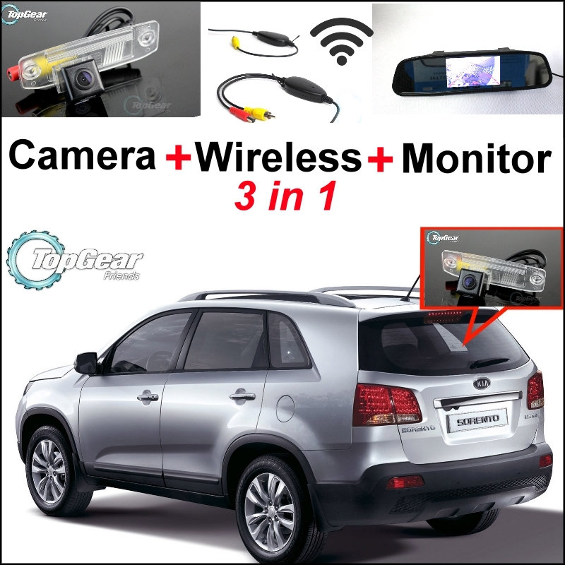 3 in1 Special Camera + Wireless Receiver + Mirror Monitor Easy DIY Back Up Parking System For KIA Sorento 2009~2010 3 in1 special rear view camera wireless receiver mirror monitor easy diy back up parking system for kia sportage r 2011 2015