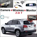 3 in1 Special Camera + Wireless Receiver + Mirror Monitor Easy DIY Back Up Parking System For KIA Sorento 2009~2010