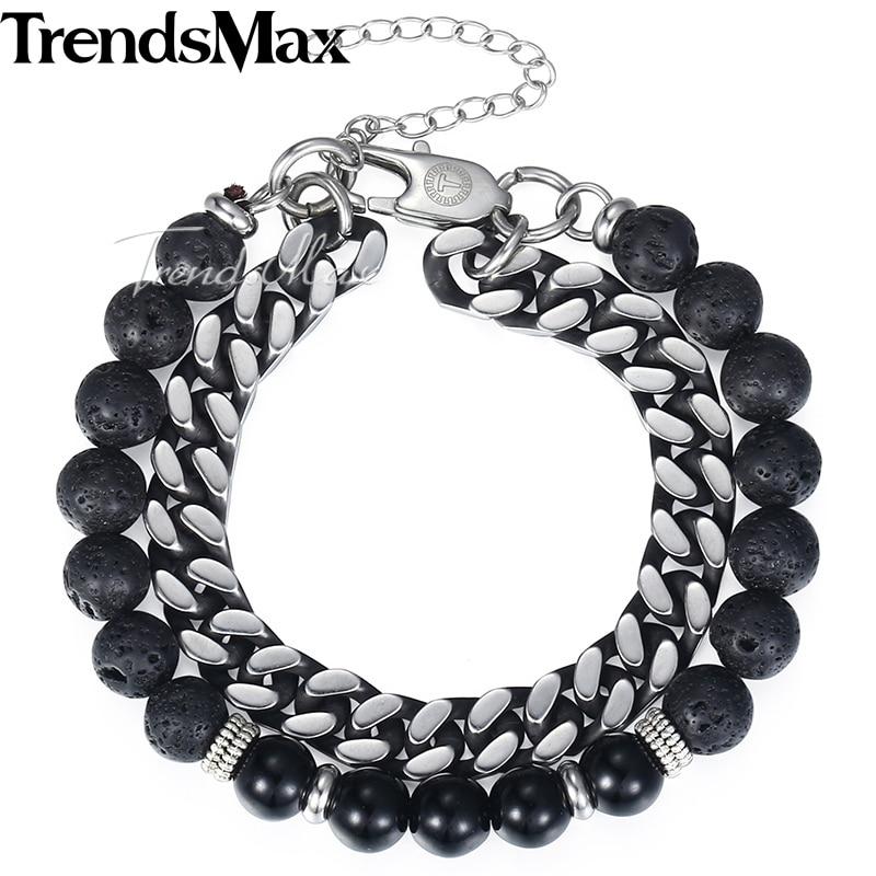 цена на Trendsmax New Stretch Men's Bead Bracelets Stainless Steel Curb Link Black Lava Beaded Bracelet Jewelry For Women Men KDB12
