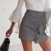CK500 Summer Fashion Ruffle Black And White Plaid Bodycon Women Skirt 2017 Fashion Mini Sexy Slim