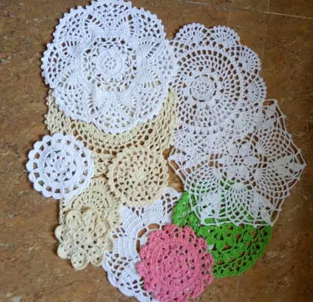 HOT lace ผ้าฝ้าย placemat ถ้วย coaster mug kitchen คริสต์มาสจานเสื่อตารางผ้าโครเชต์ชากาแฟ doily dining pad