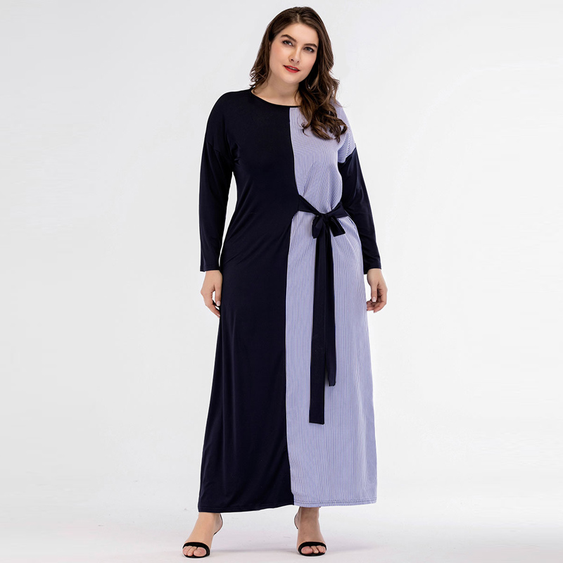 Spring Autumn Muslim Women Abaya Bat sleeve Stripe patchwork Woman Gowns Self Tie Long Sleeve Plus Size Robes Turkey Female Navy image