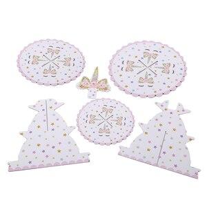 Image 4 - 1 adet Unicorn kek standı üç katmanlar Unicorn doğum günü partisi malzemeleri tatlı standları düğün parti iyilik