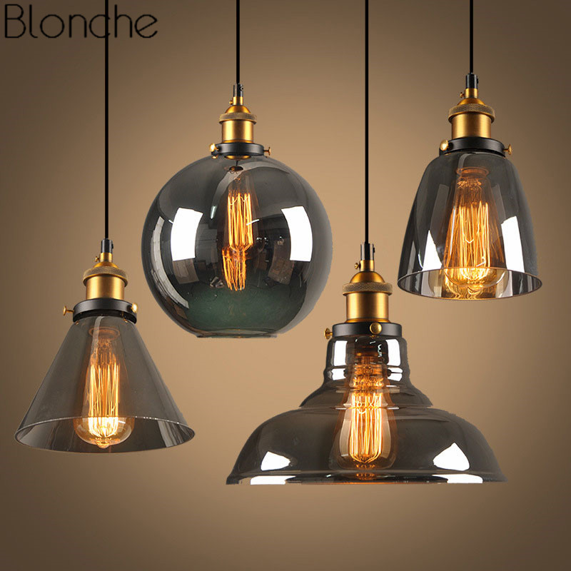 Modern Pendant Lights Nordic Vintage Glass Hanging Lamp Loft Industrial Decor for Kitchen Dining Room Home Lighting Retro E27 e27 220v rustic industrial pendant lights vintage lamp water pipe hanging light loft lamp for home lighting decor
