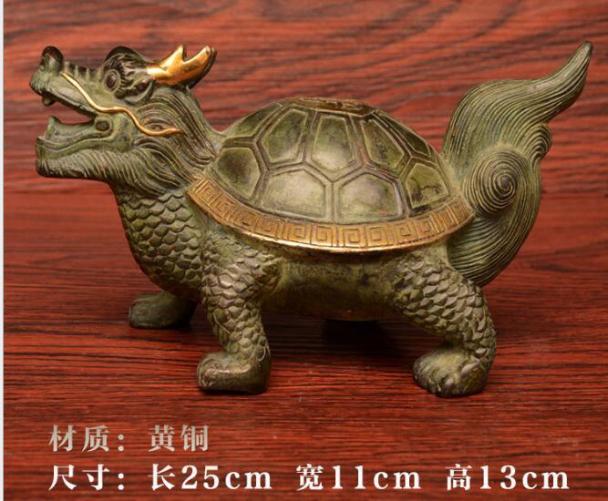 Ornements de noël + statue de tortue de Dragon en or sculpté en laiton pur, tortue de longévité longue 25 cm livraison gratuite - 5