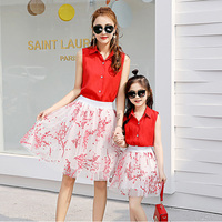WNLEIGEL Family Matching Clothes Mother Daughter Red Single Breasted Shirt And White Black Floral Beautiful Skirt