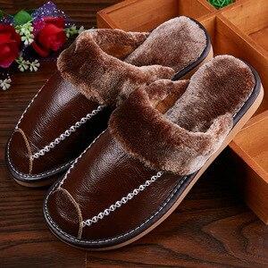 Image 2 - Mntrerm zimowe męskie kapcie prawdziwej skóry domu kryty antypoślizgowe buty termiczne mężczyźni 2020 nowe ciepłe zimowe kapcie Plus rozmiar