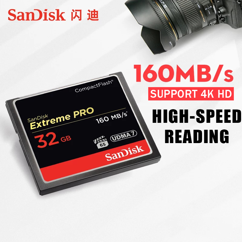 Original SanDisk compact 32GB flash card 64GB 128GB CF card for DSLR and HD Camcorder Max160M/sHigh Speed VPG65 Memory Card