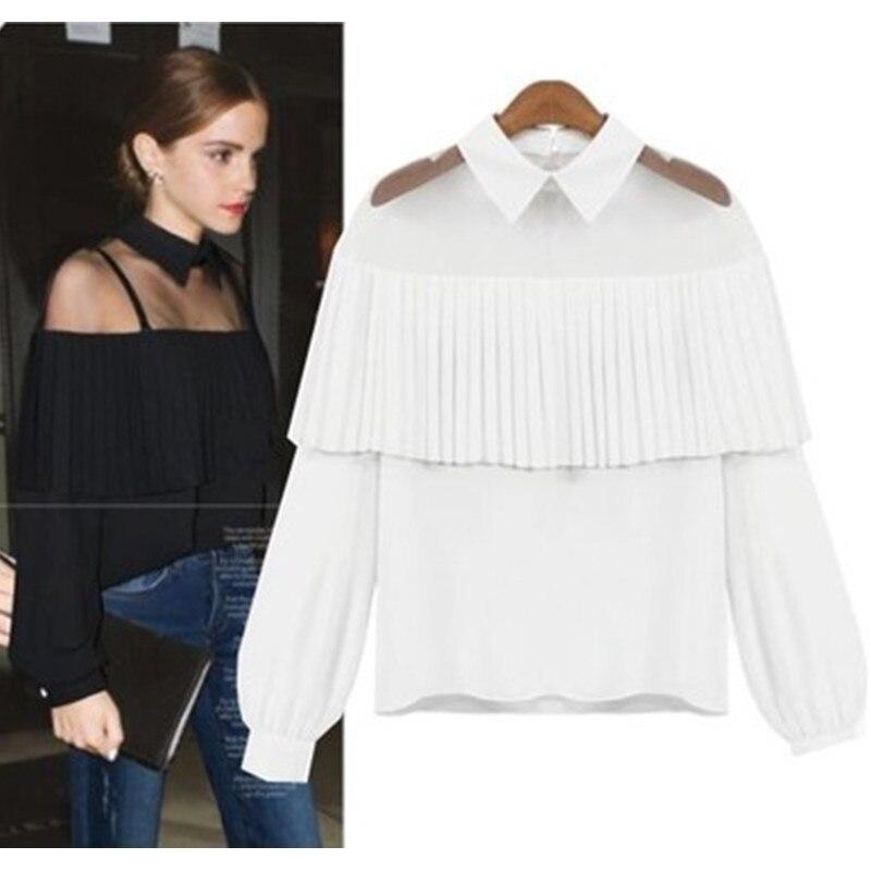 Neophil Women Elegant Chiffon Ruffles Off Shoulder Blouses Shirts 2018 Tulle Mesh Patchwork Long Sleeve Batwing blusas B07031