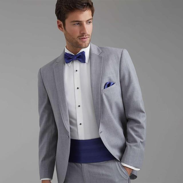 09c03521c70a6 Por encargo para medir pálido gris hombres traje