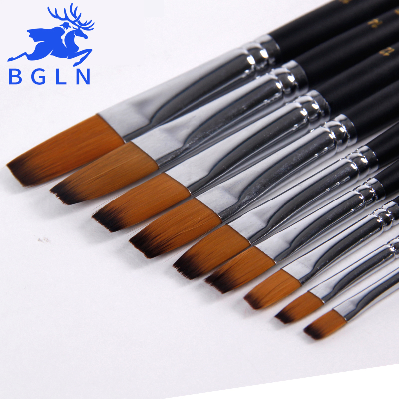 9Pcs/set Flat Head Artist Paint Brush For Acrylic Oil Art Face Painting Different Size Long Handle Paint Brush Art Supplies 801 14pcs different shape acrylic oil painting brush suit wooden handle brushes drawing tool paint pen with bag art supplies