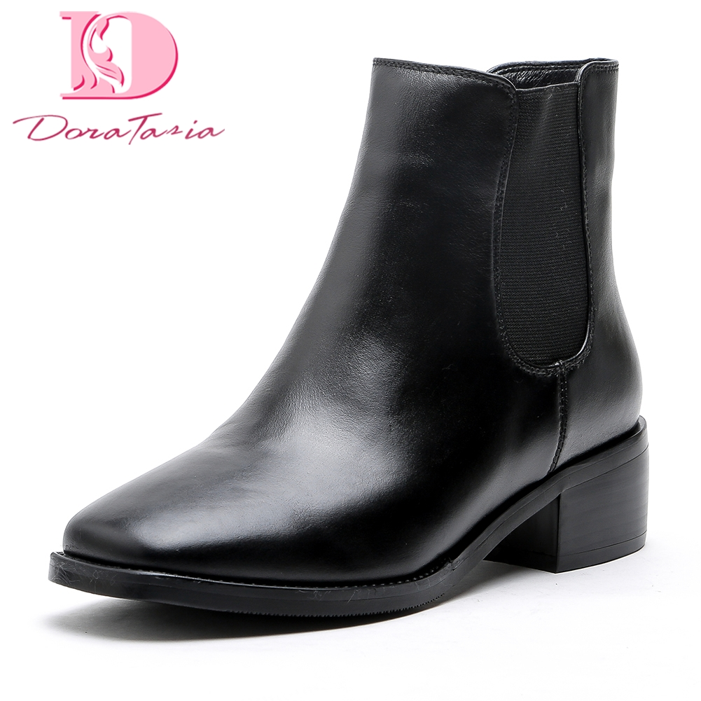 Doratasia Genuine Leather Large Size 34-43 Cow Leather Square Heels Elastic Band Ankle Boots Square Toe women Boots Shoes Woman