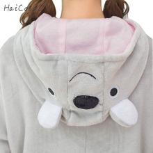 Lovely Koala Pajama Animals Onesie Women Adult Cosplay Costume Flannel Warm Gray Sleepwear Long Sleeve With Hat Girl Party Fancy