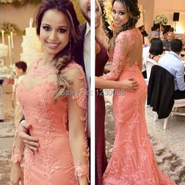 Free Shipping Long Sleevees Prom Dresses 2016 New Arrival Sexy Women Backless Lace Appliques Evening Dress Vestido De Festa