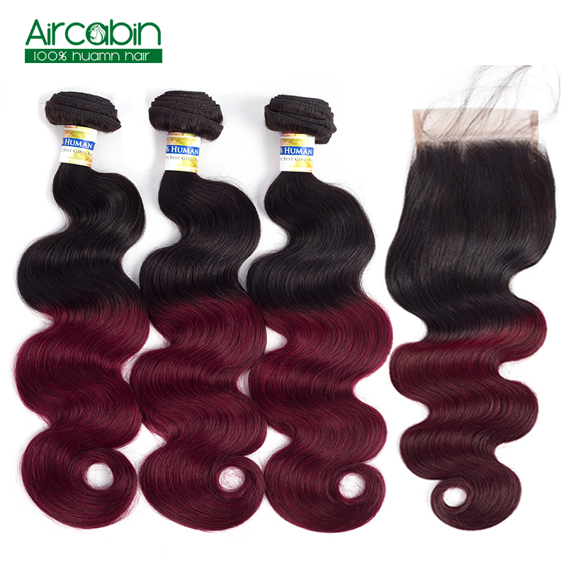 Brazilian Body Wave 3 Bundles with Closure T1B/99J Dark Roots Burgundy Body Wave Human Hair with Closure AirCabin Non Remy