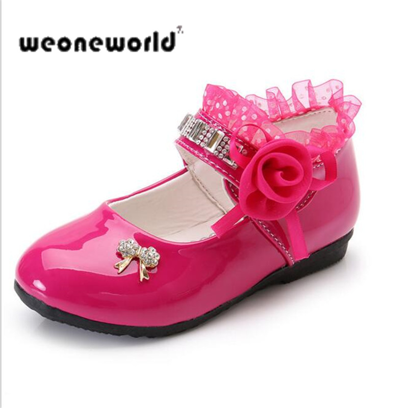WEONEWORLD Girls Leather Shoes 2018 Summer Children Princess Shoes for  Party Butterfly Girls Shoes for Weddings ... 9636b61e6c3b