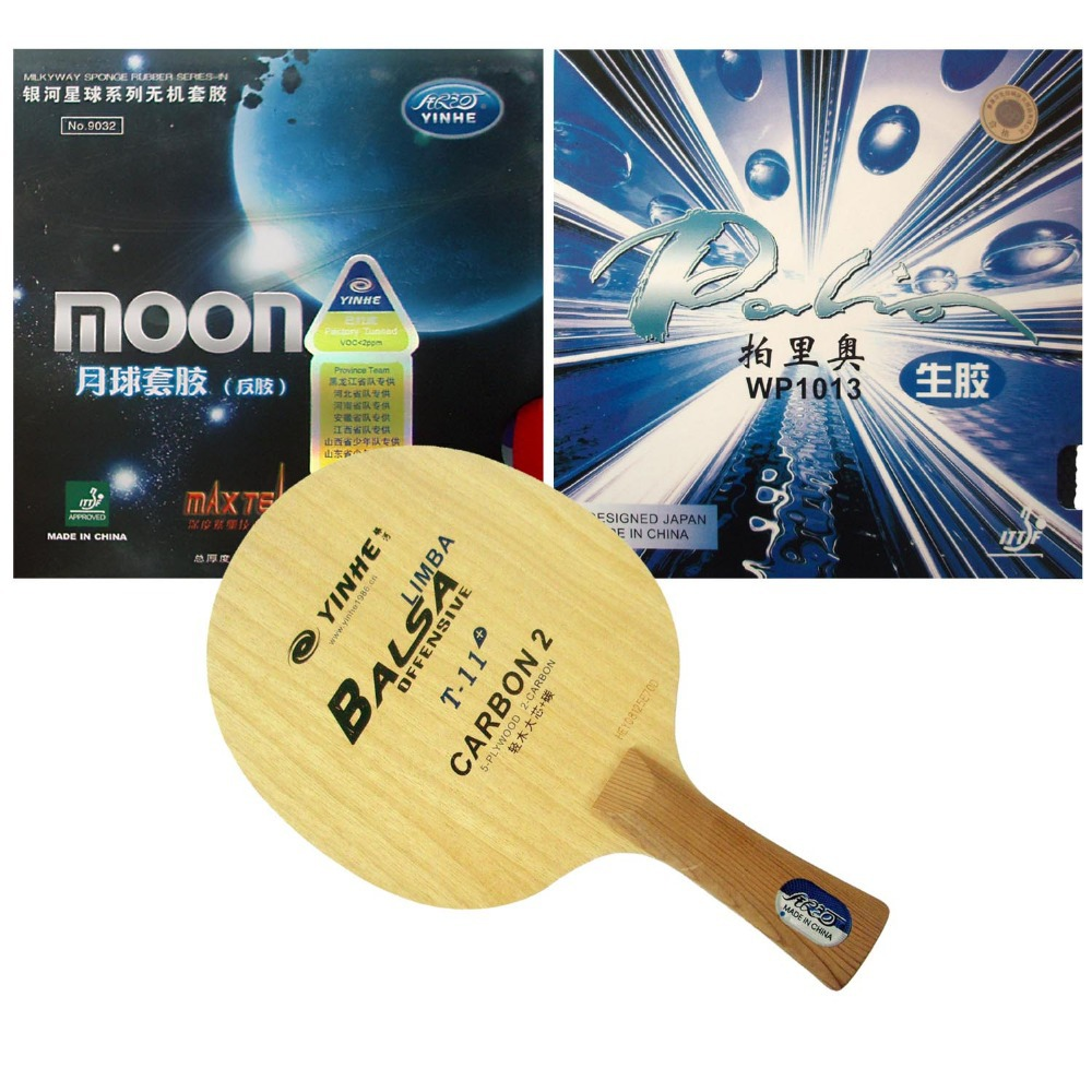 Pro Table Tennis PingPong Combo Racket Galaxy YINHE T-11+ with Moon Factory Tuned and Palio WP1013 Long Shakehand-FL pro table tennis pingpong combo racket palio tct with galaxy yinhe sun and moon rubber with sponge factory tuned