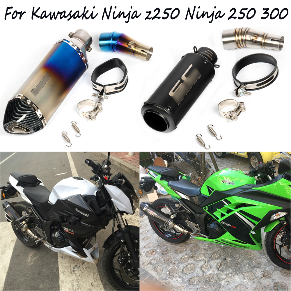 цена For Kawasaki Ninja z250 Ninja 250 300 Motorcycle Stainless Steel Middle Section Link Silp on 51mm Exhaust Muffler Pipe System онлайн в 2017 году
