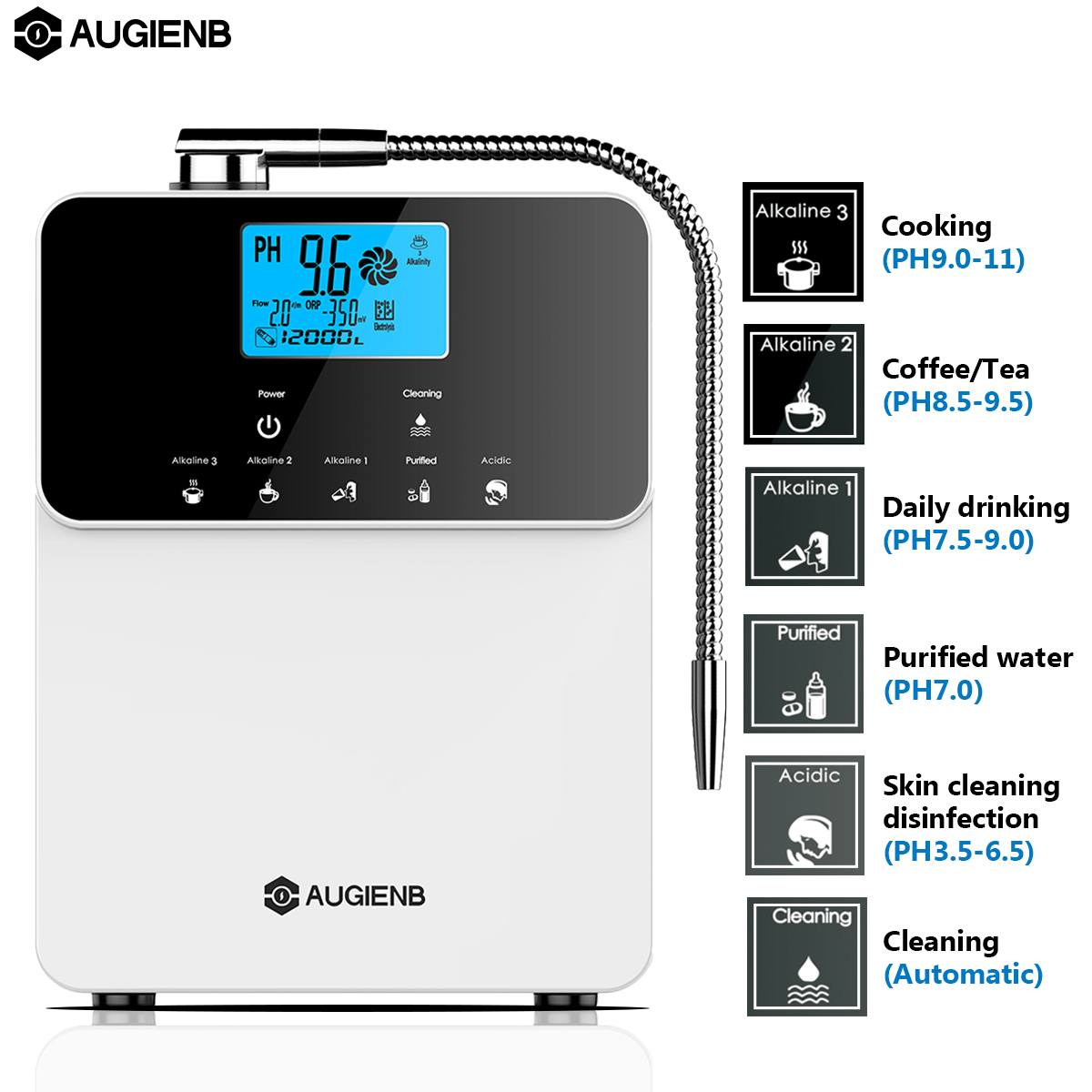 AUGIENB LCD Water Ionizer Purifier Machine PH 3.5-11 Alkaline Acid 5 Water Settings 12000 Liters Auto-Cleaning Water Filter