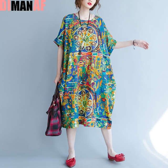 9c41e7edb14e9 US $16.25 37% OFF|DIMANAF Plus Size Women Summer Dress Pattern Print Linen  Female Casual Fashion Green Loose Vintage Batwing Sleeve Maxi Dresses-in ...
