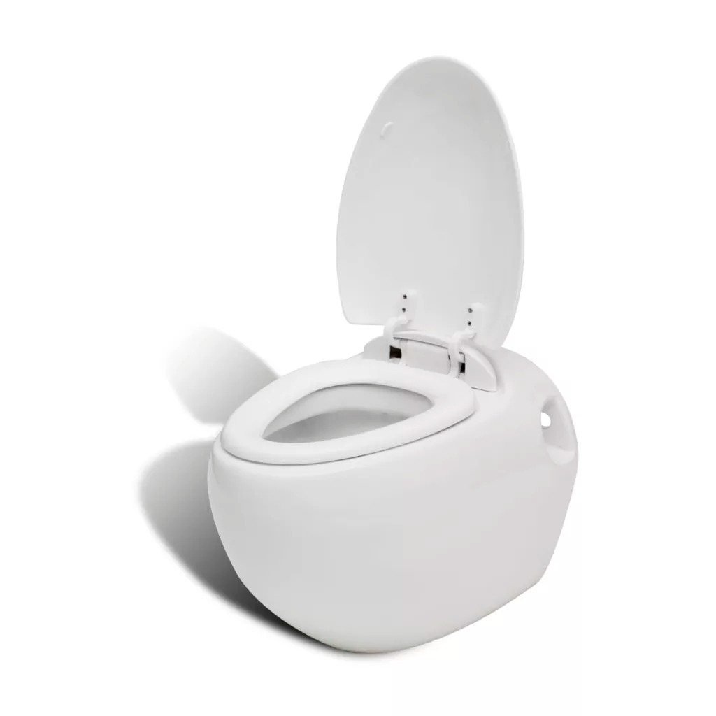 VidaXL Toilet Bowl Hanging White With Toilet Seat Bathroom Quality Ceramic Fingertips Touch Lid Closes Automatically Toilet