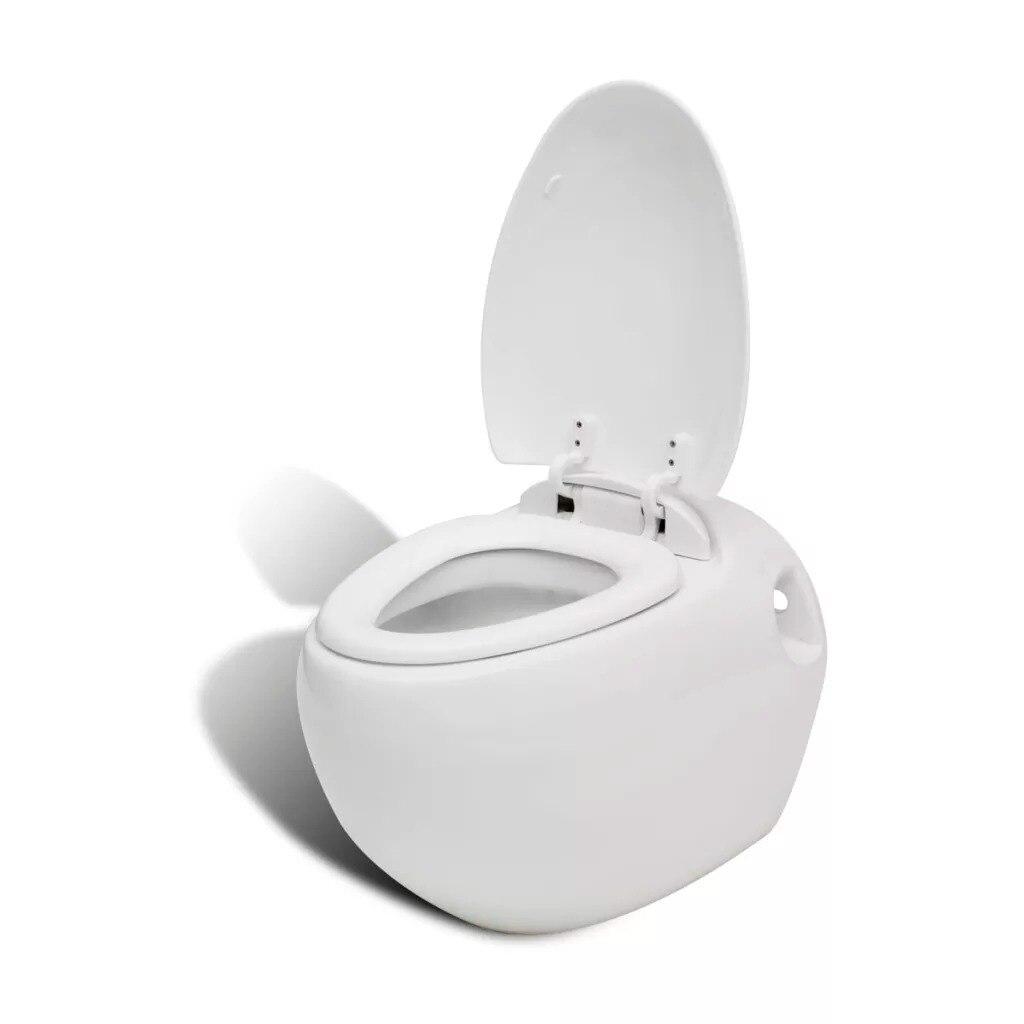 VidaXL miska wc wiszące białe z deska klozetowa łazienka jakości ceramiczne wyciągnięcie ręki dotykowy pokrywa zamyka się automatycznie, toaleta