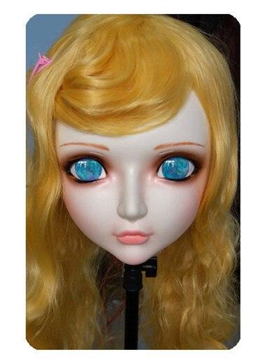 (DM033) Women/Girl Sweet Resin Half Head Kigurumi BJD Mask Cosplay Japanese Anime Lifelike Lolita Mask Crossdressing Sex Doll