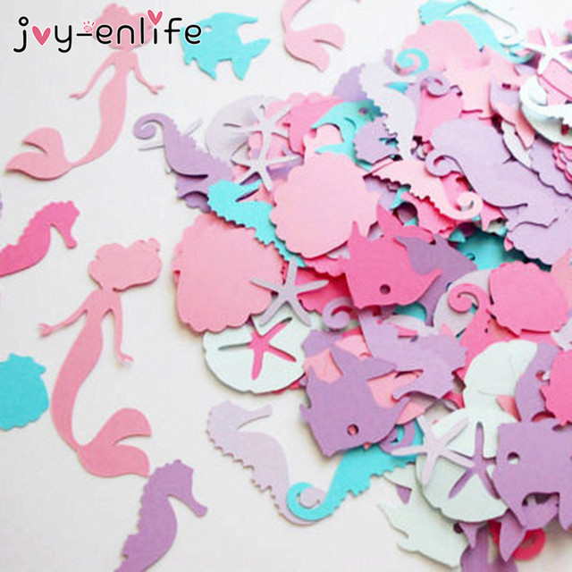 JOY ENLIFE 100pcs Mermaid Confetti Under The Sea Theme Girl Birthday