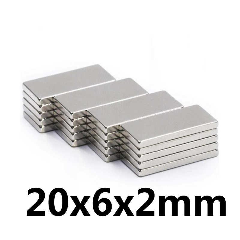 10 Pcs 20X6X2 Mm Neodymium Magnet Blok N35 Permanen Super Kuat Kuat Kecil Magnetik Magnet Square langka Bumi NdFeB