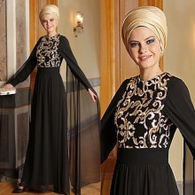 High Quality Black Muslim Evening Dresses 2017 Gold Embroidery Long sleeves Evening Party Dress Hijab chiffon Vestido De Festa