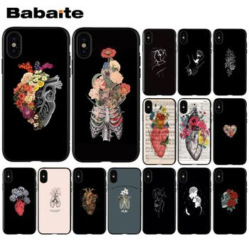 Babaite Valentine's gift Pink human heart with flowers Phone Case for Apple iPhone 8 7 6 6S Plus X XS MAX 5 5S SE XR Cellphones image
