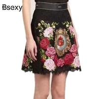 Runway Women Lace Skirt 2018 High Waist Floral Rose Embroidery Black Skirt Women A line Mini Skirt harajuku Autumn falda mujer