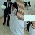 Nova chegada manga longa vestidos de casamento chave holl branco e marfim ver através voltar lace e chiffon robe de mariage 2017