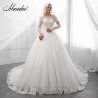 Miaoduo New Arrival vestidos de novia 2018 long robe de soiree bride Dress Ivory Wedding Dresses Actual Real Photos trouwjurk