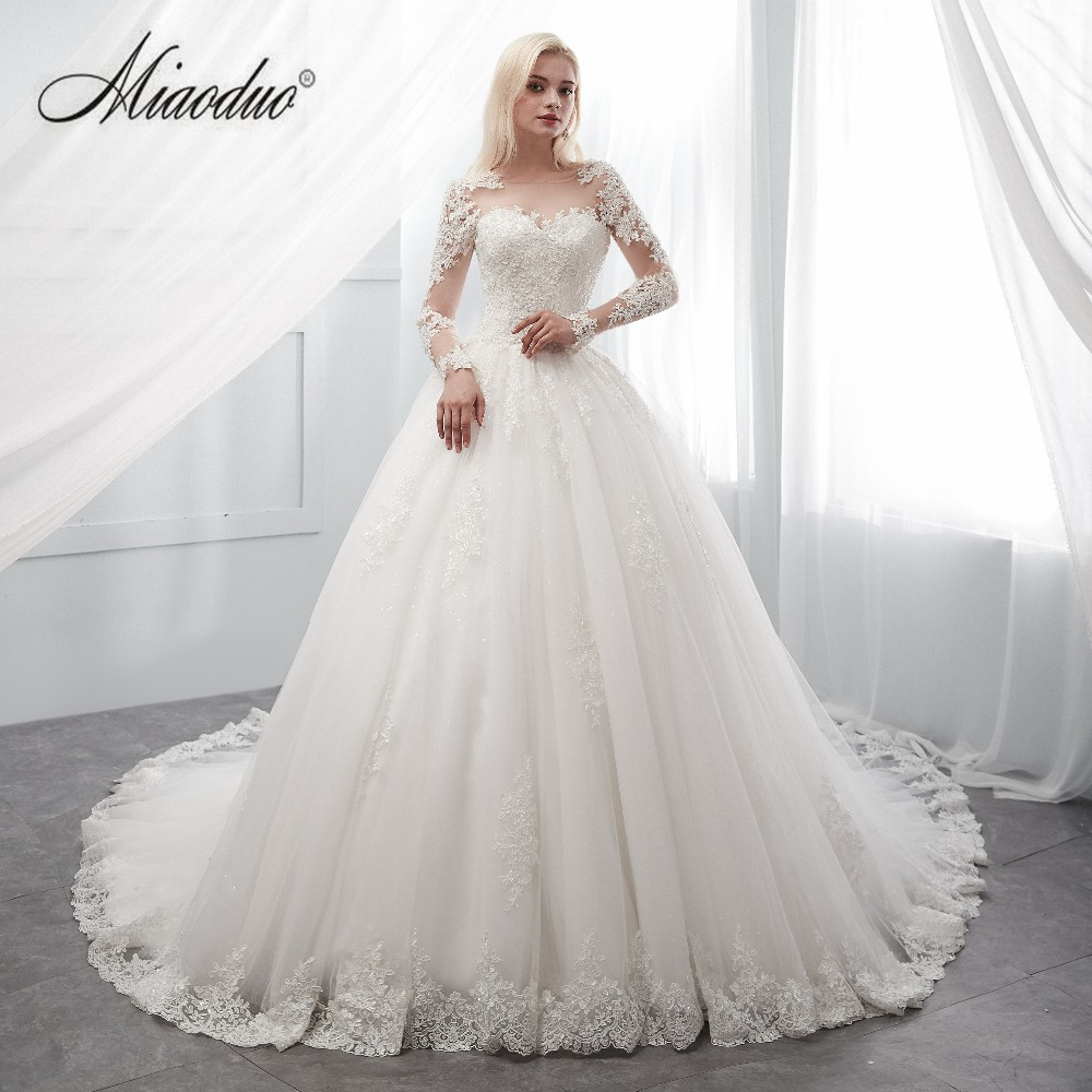 Miaoduo New vestidos de novia 2019 long robe de soiree bride Dress Ivory Wedding Dresses Real Photos trouwjurk Black Skin Girls