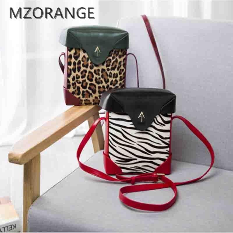New 2016 Genuine Leather Arrow Box Women Handbags Zebra Leopard Pattern Hit Color Shoulder Bags Crossbody