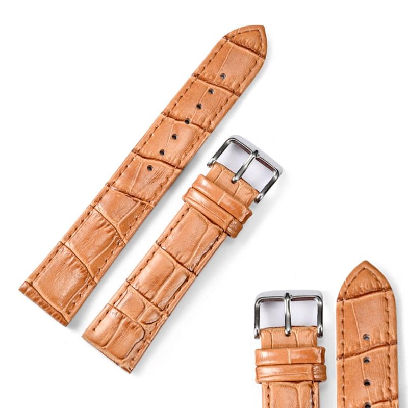 Новый Дизайн, Натуральная Кожа Смотреть ремешок Ремешок 12 мм-24 мм Часы Браслет Аксессуары Черный Коричневый Мужчины Ремешки Для Наручных Часов Для бренд
